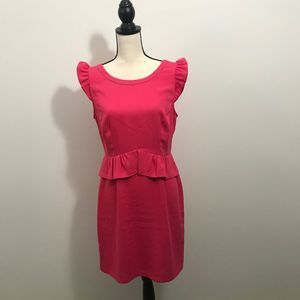 ELLE PINK PENCIL DRESS WITH RUFFLE